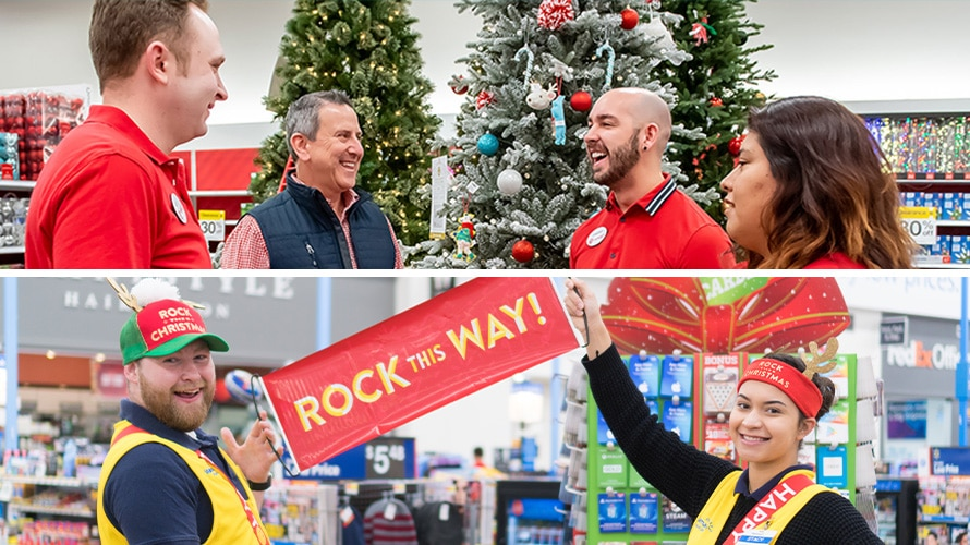 Two horizontal images, one on top of the other, of store team members setting up for the holidays.