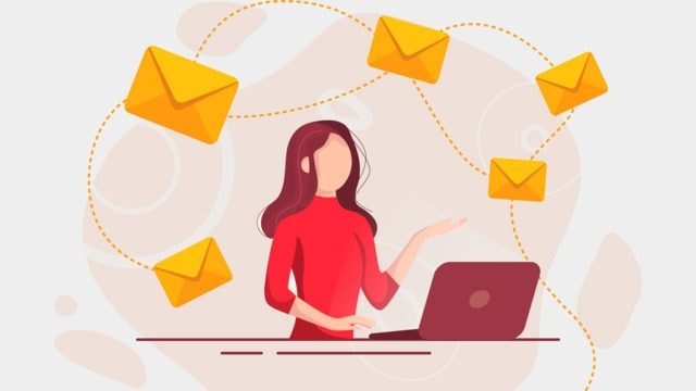 illustration of a woman on her laptop with mail floating around