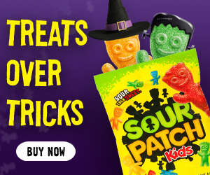 treats over tricks with sour patch kids