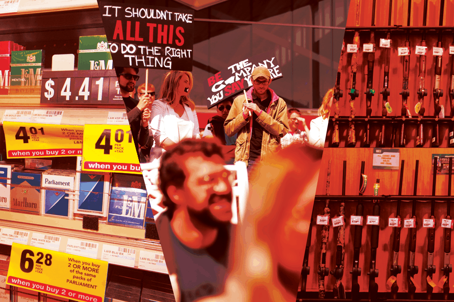 photo of guns on the right, people protesting in the middle and packs of cigarettes on the left