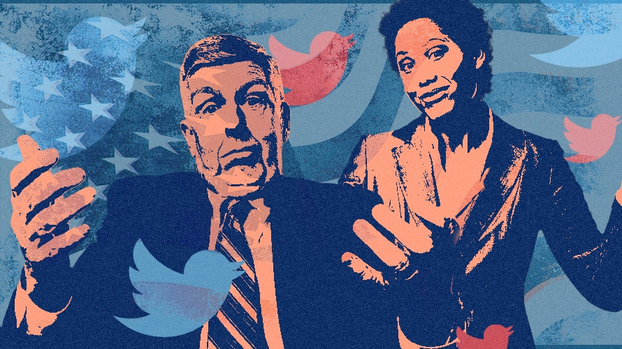 illustration of business man and woman shrugging surrounded by twitter logos