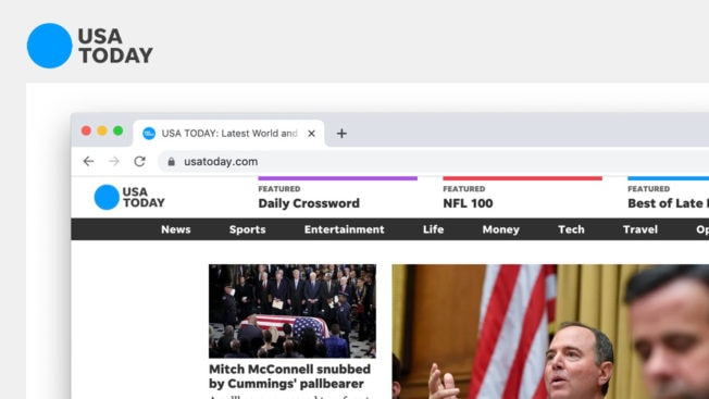 A snippet of USA Today's redesigned home page