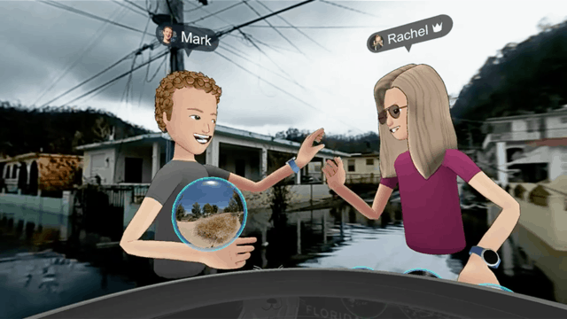 Mark Zuckerberg high-fives during a misplaced VR promotion.