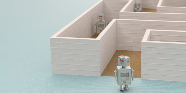 Three robots in different parts of a maze