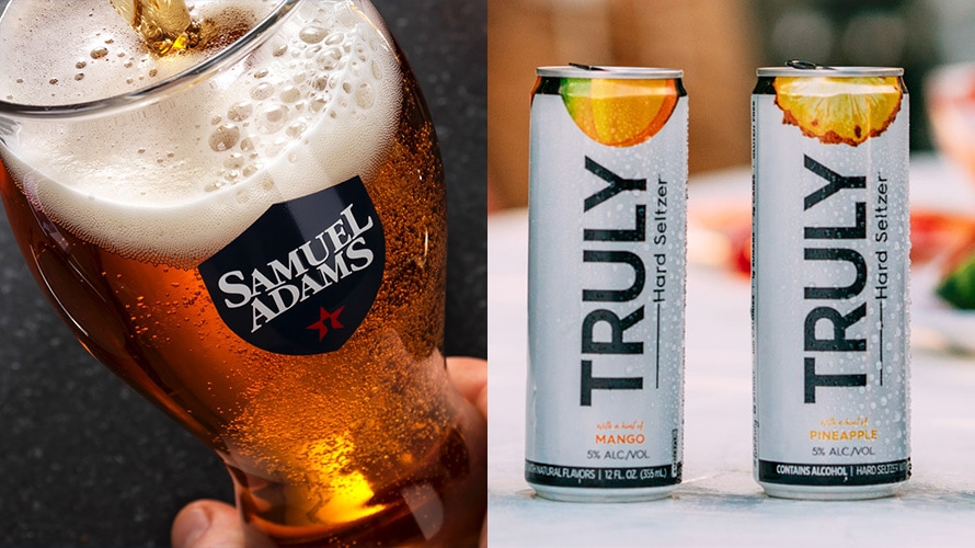 Side by side image of Samuel Adams and Truly Hard Seltzer