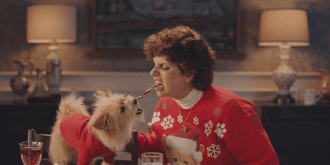 a dog and a grandmother fighting over a candy cane