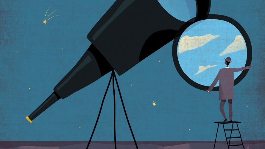 A huge telescope and a business man looking out through another telescope lens that looks like a window
