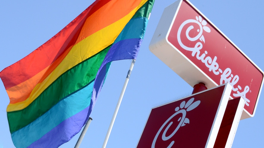 rainbow flag and chick-fil-a signage