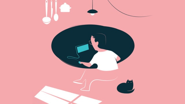 Illustration of a person working at home with a cat in the kitchen