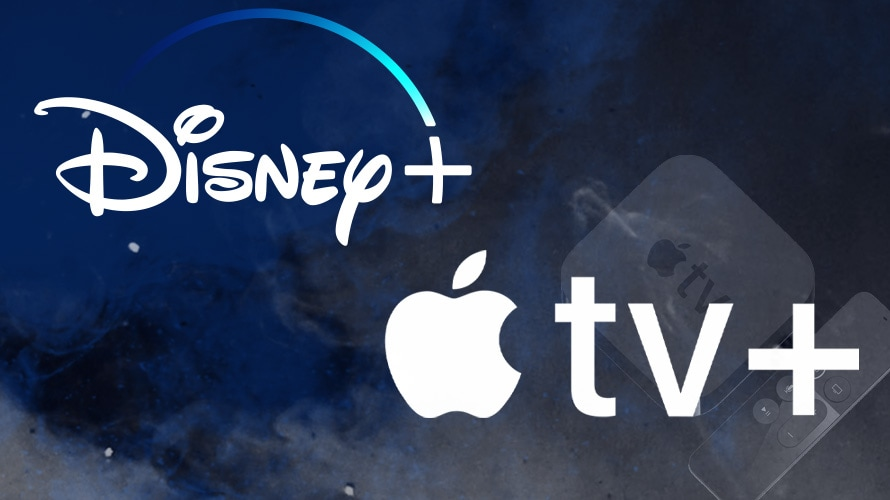 disney+ and apple tv+ logos