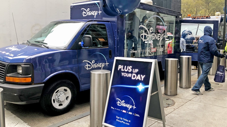 Disney+ truck and signage