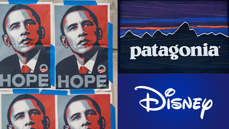 Collage of Obama Hope posters, Patagonia signage, and Disney logo