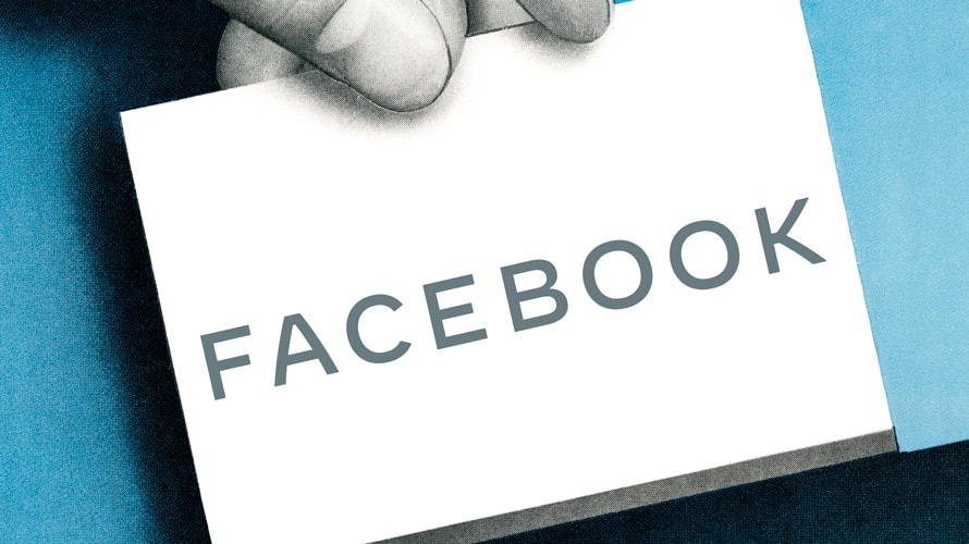 New facebook all caps logo on a black and white card