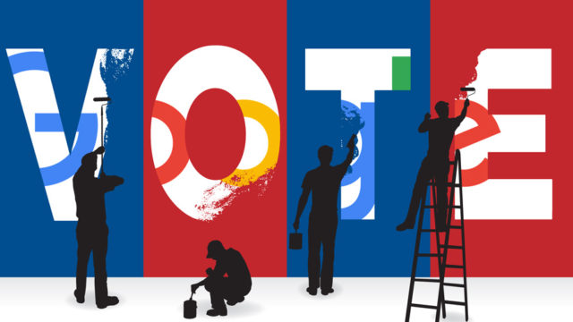 silhouettes of people painting vote with google logo inside