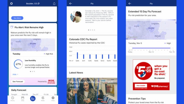 screenshots of the weather channel app's new flu insights feature