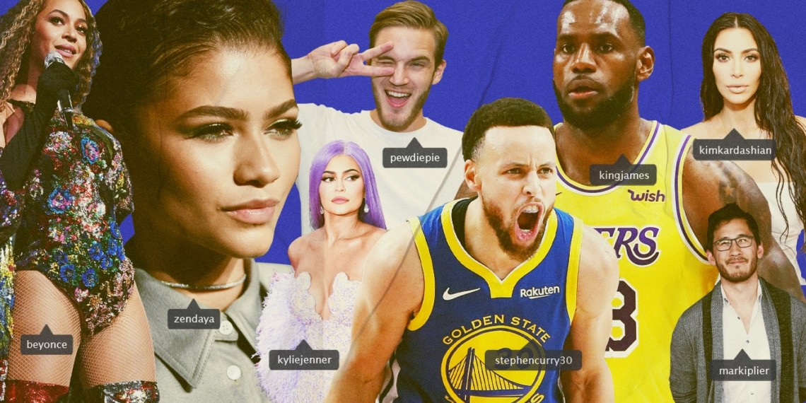 a collage of influencers including zendaya, pewdiepie and lebron james