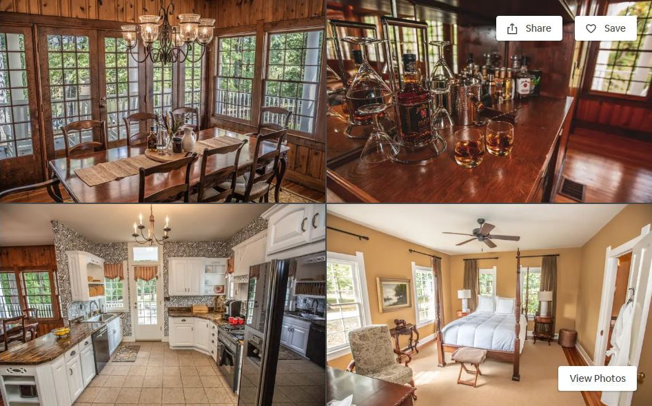 four photos of Jim Beam's bourbon cottage listing on Airbnb