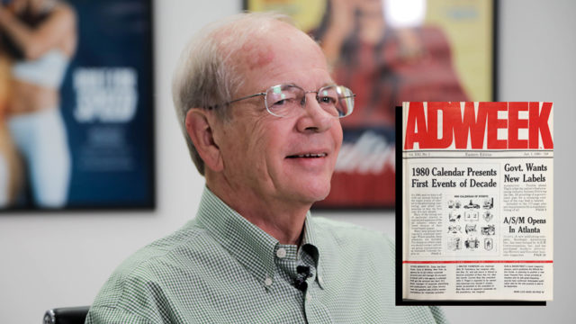 an older man (ken fadner) sitting in front of an adweek issue