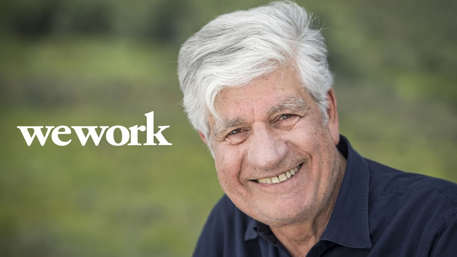 wework logo and headshot of Maurice Levy