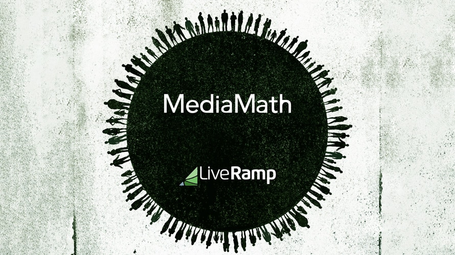 MediaMath, LiveRamp logos inside black circle surrounded by silhouettes of people