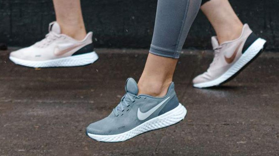 Close up of Nike shoes during a run