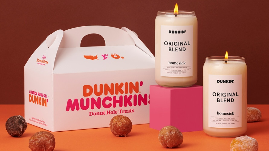 Studio product shot of Dunkin's original blend candles with munchkins