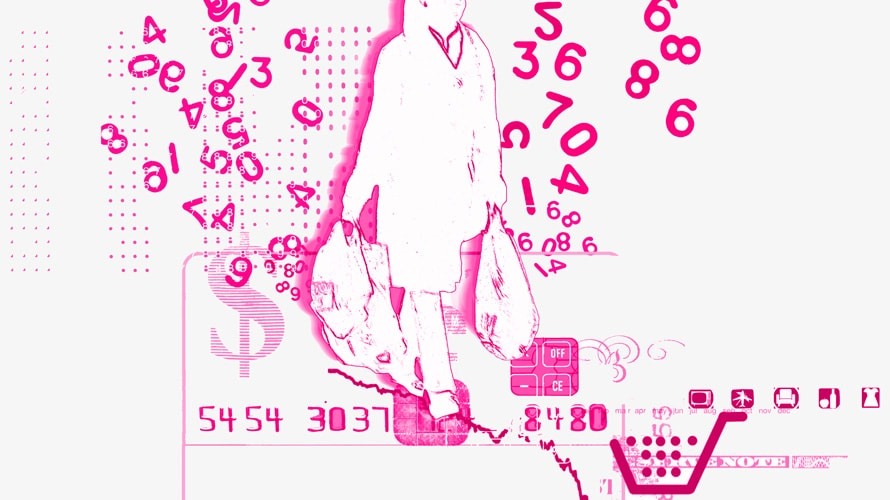 Illustration outline of woman with shopping bags walking surrounded by numbers, and credit card