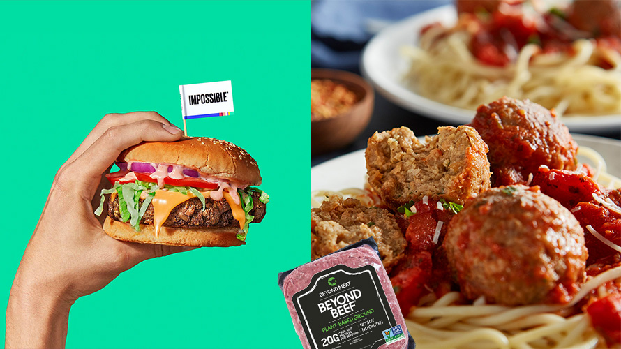 Impossible Foods burger, beyond meat beef, and spaghetti and meatballs