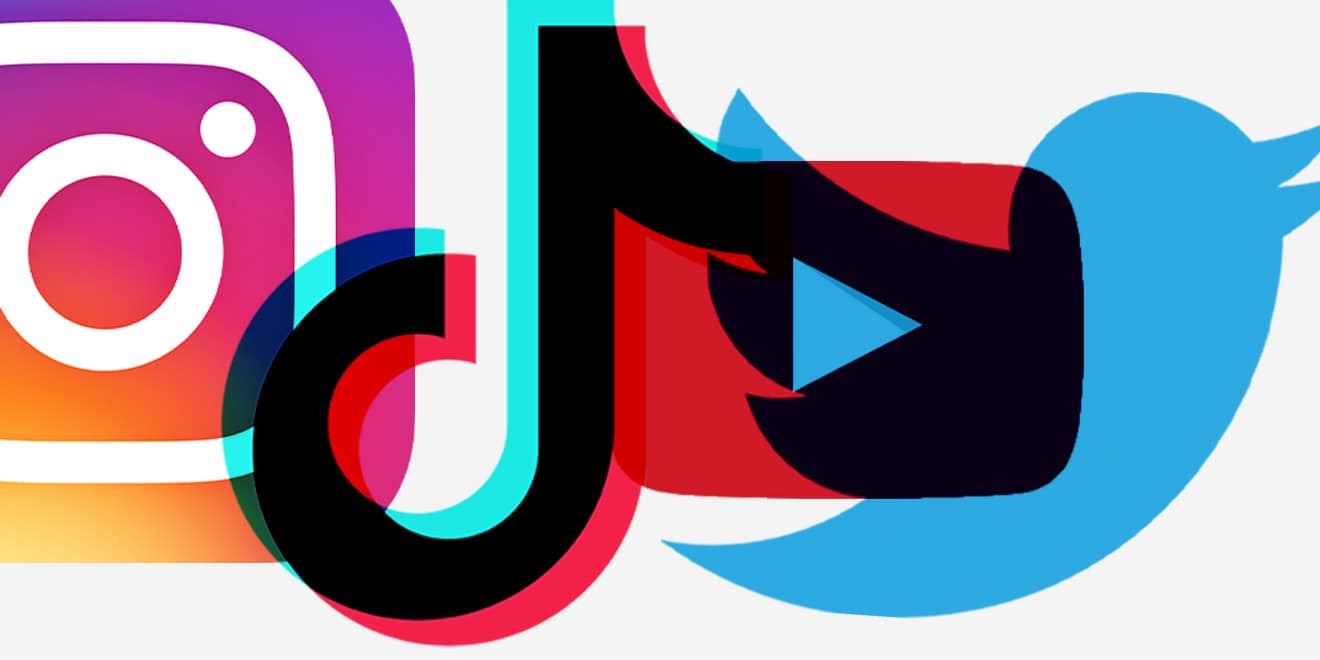 The Instagram, TikTok and Twitter logos