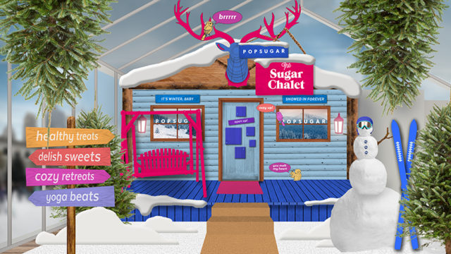 a rendering of Popsugar's winter wellness cabin Sugar Chalet