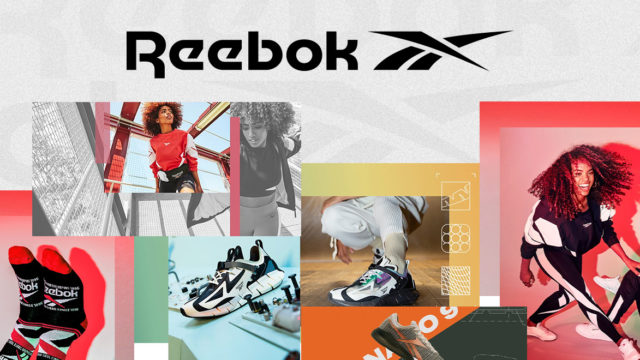 Reebok logo and collage of product lookbooks