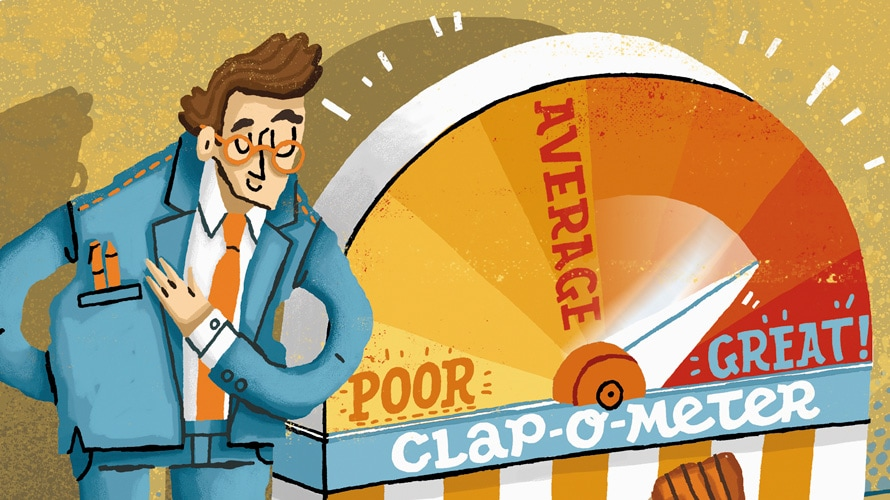 Illustration of business man next to a clap-o-meter machine that rates him as great