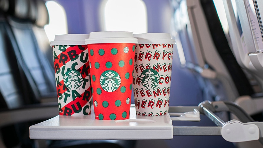 Tray of Starbucks holiday cups