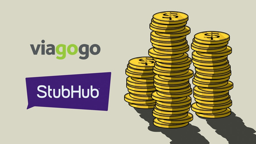 viagogo logo, stubhub logo next to an illustration of stacked gold coins