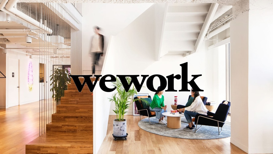 WeWork logo on top of an image of an office setting