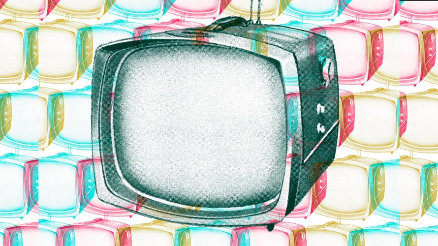 Illustration of a giant tv in the center surrounded by smaller tvs in different colors