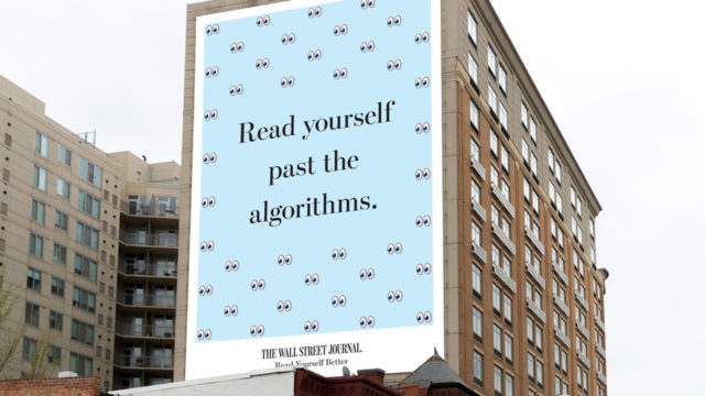 """a billboard that read """"read yourself past the algorithms"""""""