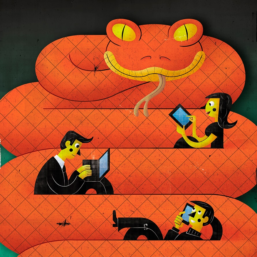 Illustration of a coiled snake with people sitting on it while using devices