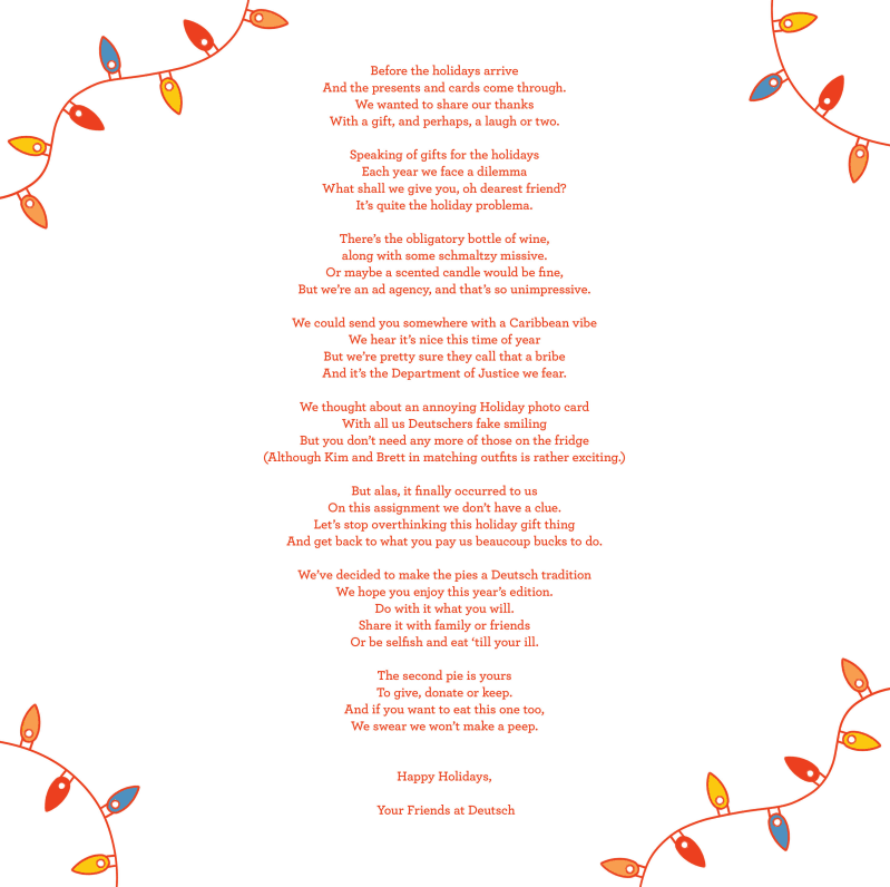 Poem by Deutsch about holiday pies