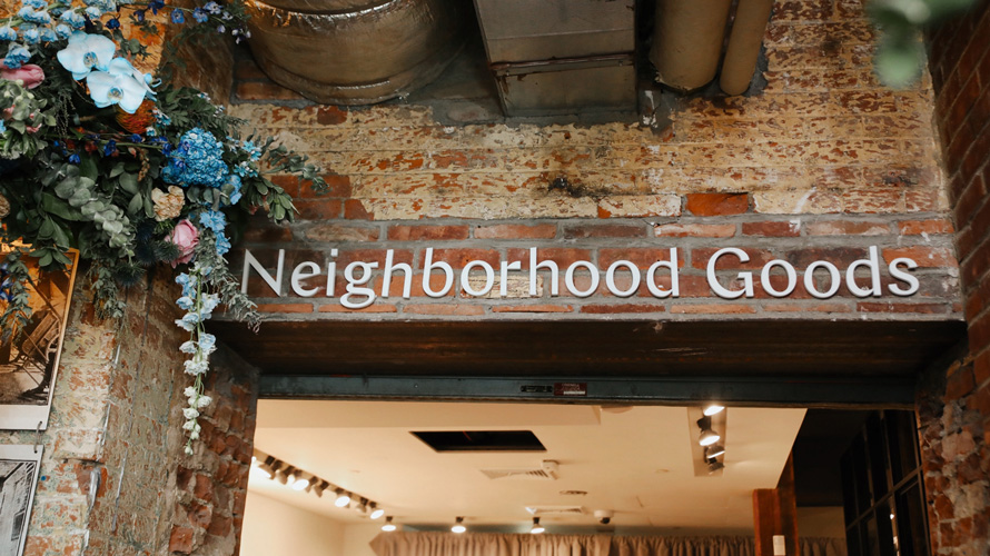 Neighborhood Goods entrance signage