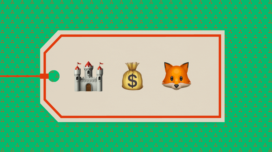 a price tag with an emoji of a castle, a bag of money and a fox head
