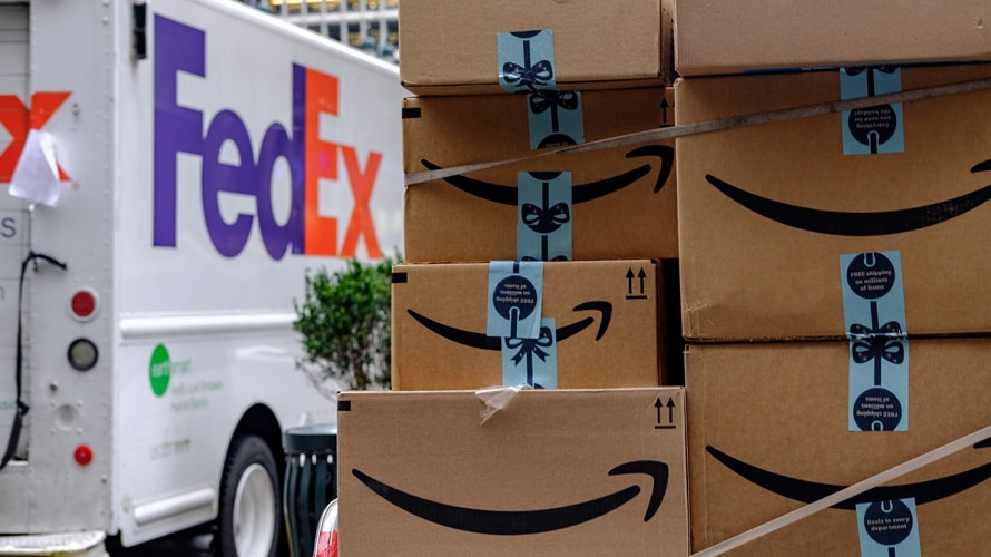 FedEx truck and amazon packages