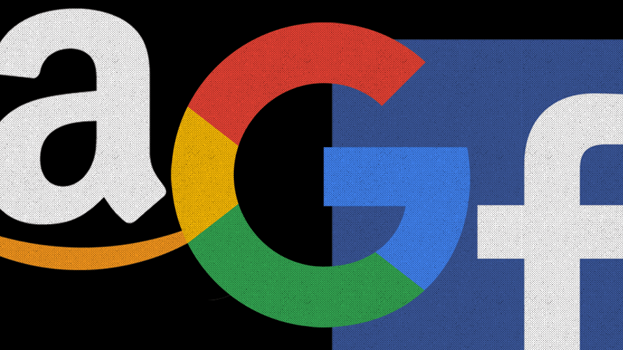 amazon, google and facebook logos