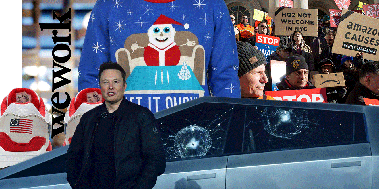 Elon Musk, Nike shoes, WeWork, Santa sweater and Amazon protesters