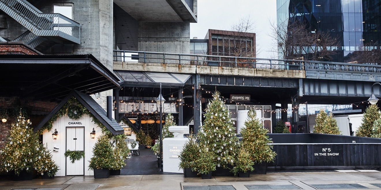 the outdoor facade of a building with a small bridge area and a bunch of christmas trees