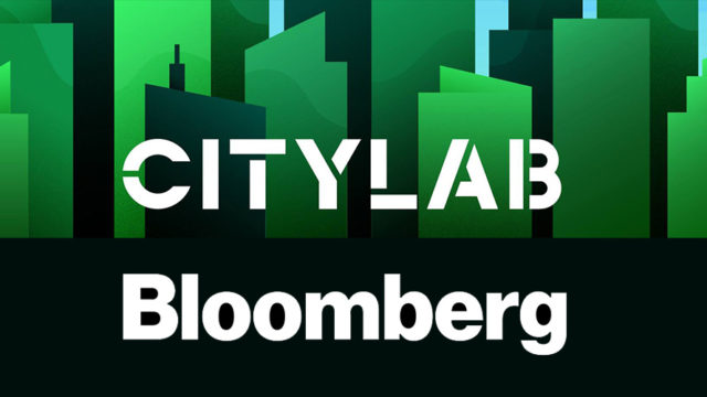 citylab bloomberg logos on a dark green and black background with skyscrapers