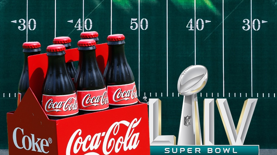 Coca-Cola 6 pack, Superbowl LIV logo, with an overhead shot of a football field