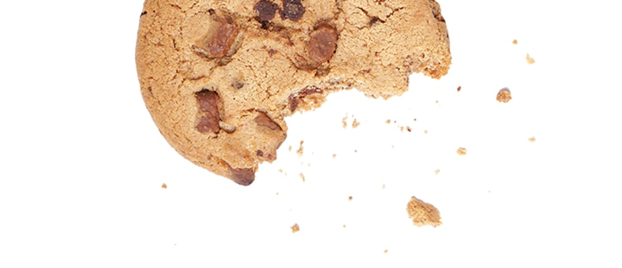 Directly Above Shot Of Chocolate Chip Cookie On White Background