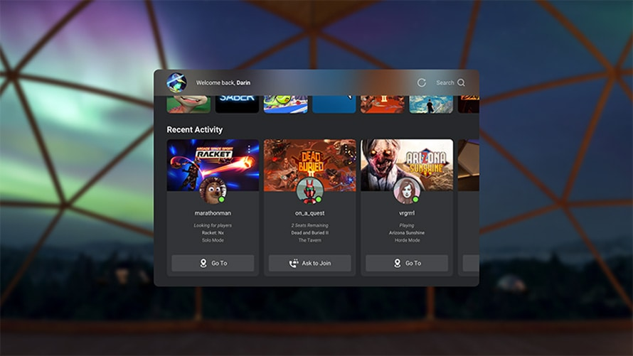 home screen of the oculus virtual reality platform