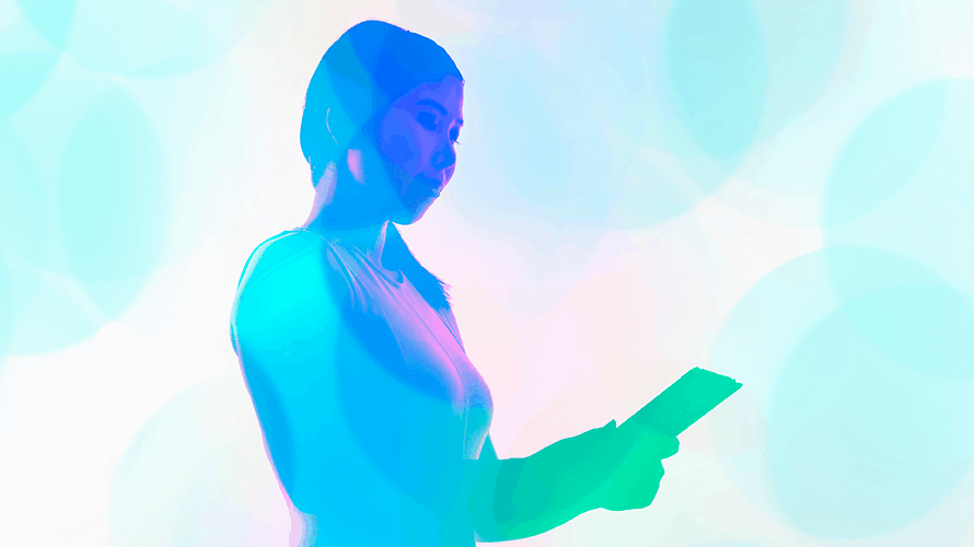 an illustration of a woman holding a tablet computer